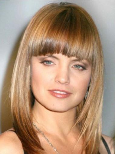 Monofilament Brown Straight Refined Medium Wigs