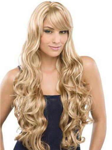 Durable Blonde Wavy Long 100% Hand-tied Wigs