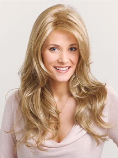 Blonde Layered Wavy Cheap Lace Wigs