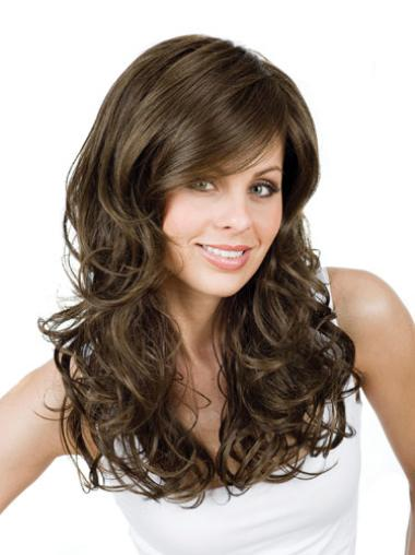 Monofilament Brown Curly Faddish Long Wigs