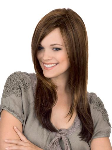 Monofilament Brown Straight Exquisite Long Wigs