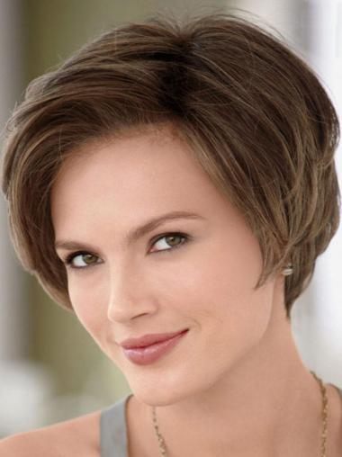 Monofilament Brown Straight Unique Human Hair Lace Front Wigs