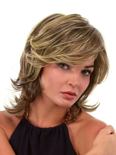 Lace Front Brown Wavy Easy Medium Wigs