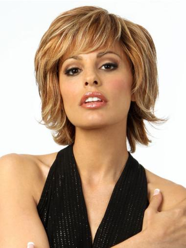 Elegant Blonde Wavy Chin Length Wigs For Cancer