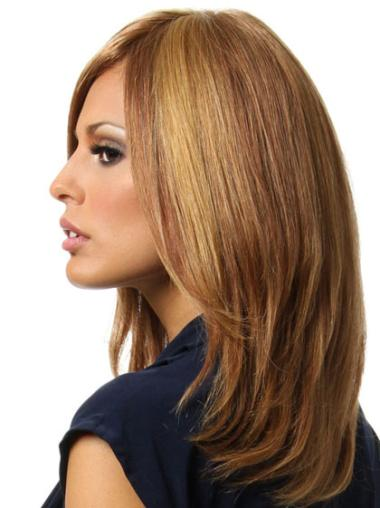 Trendy Brown Straight Shoulder Length Remy Human Lace Wigs