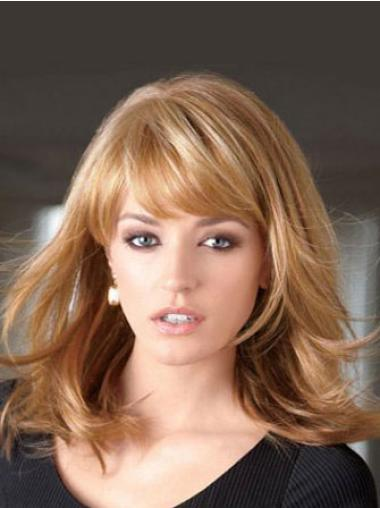 Flexibility Blonde Straight Shoulder Length Lace Front Wigs