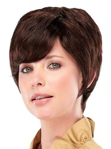 Incredible Auburn Straight Cropped Synthetic Wigs