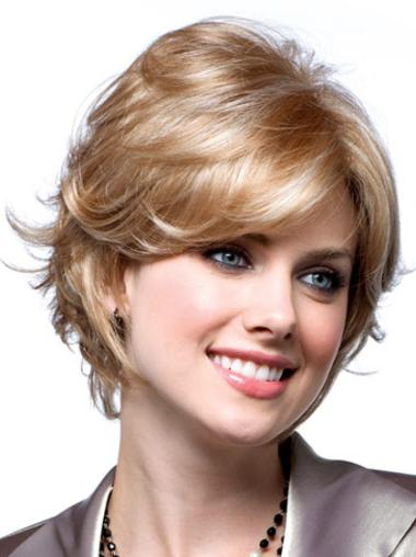 Monofilament Blonde Wavy Cheapest Short Wigs