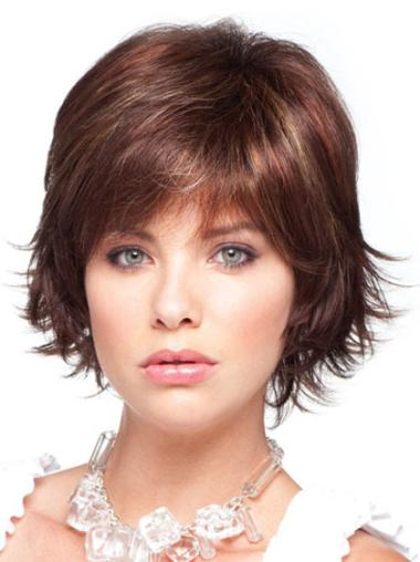 Fashionable Auburn Straight Chin Length Synthetic Wigs