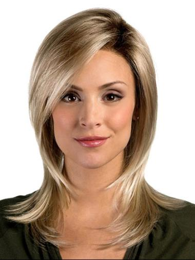 Easeful Blonde Straight Shoulder Length Synthetic Wigs