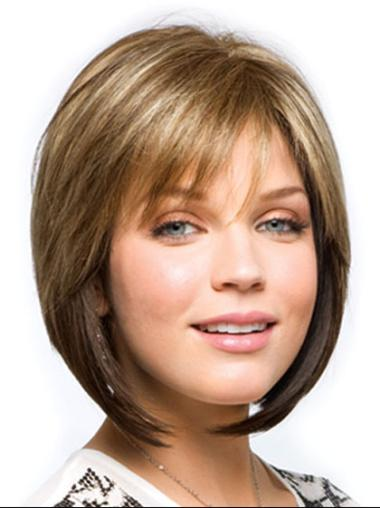 Brown Straight Synthetic Unique Medium Wigs