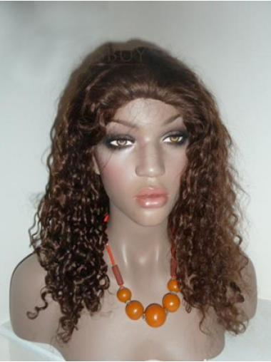 Lace Front Brown Curly No-fuss Human Hair Lace Front Wigs