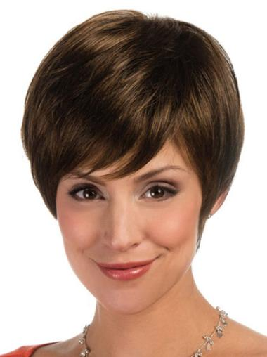Lace Front Brown Straight Top Short Wigs