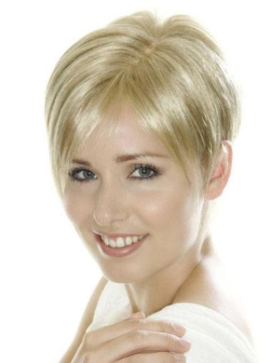Stylish Blonde Straight Cropped Lace Front Wigs