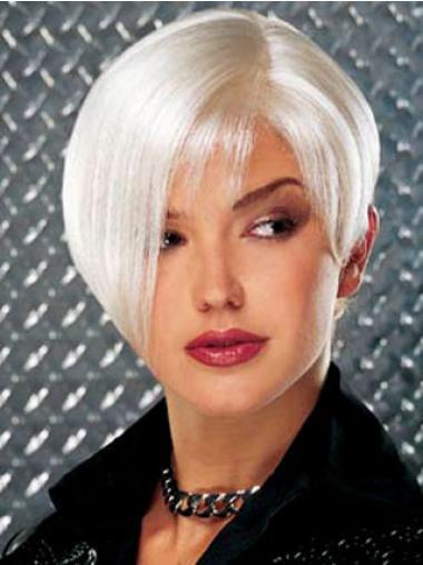 Monofilament White Straight Stylish Grey Wigs