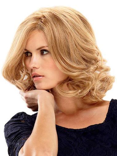 Monofilament Blonde Wavy Elegant Lace Front Wigs