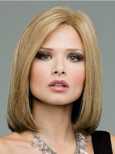 New Blonde Straight Shoulder Length Remy Human Lace Wigs