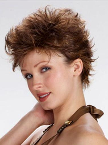 Modern Brown Wavy Cropped 100% Hand-tied Wigs