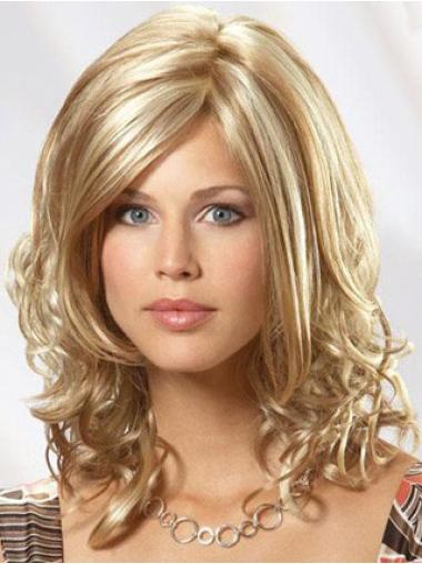 Amazing Blonde Wavy Shoulder Length Lace Wigs