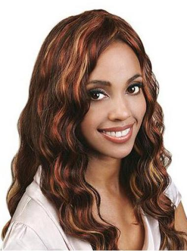 Stylish Auburn Wavy Long Human Hair Full Lace Wigs