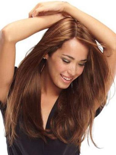 Preferential Auburn Straight Long Human Hair Wigs