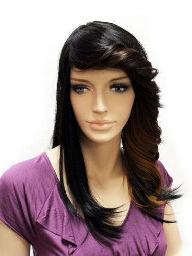 Soft Black Straight Long Lace Front Wigs