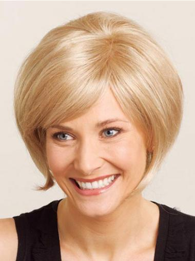 Comfortable Blonde Straight Chin Length Wigs