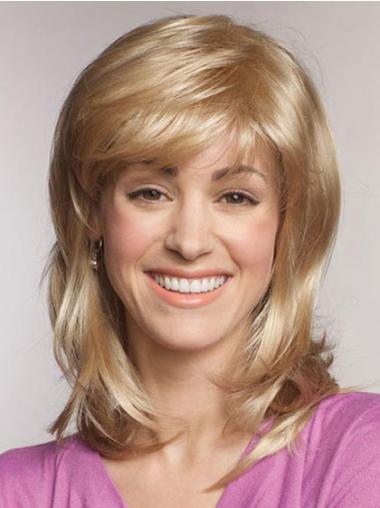 Fashion Blonde Straight Shoulder Length Lace Front Wigs