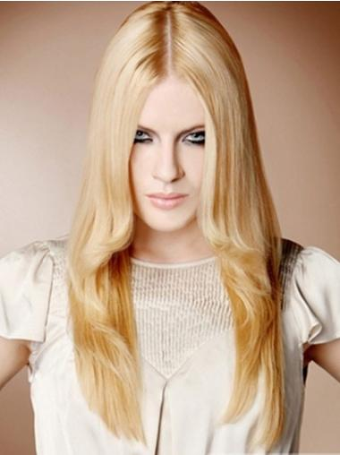 Cosy Blonde Straight Long 100% Hand-tied Wigs