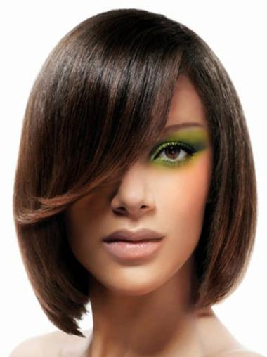 Brown Bobs Straight Sleek Lace Wigs