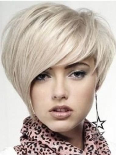 Monofilament Blonde Straight Mature Human Hair Lace Front Wigs