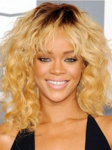 Modern Blonde Curly Shoulder Length Celebrity Wigs