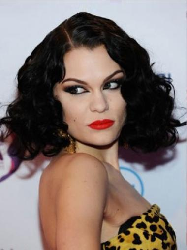 Comfortable Black Curly Chin Length Jessie J Wigs
