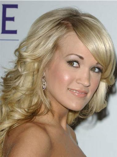 Sleek Blonde Wavy Shoulder Length Celebrity Wigs