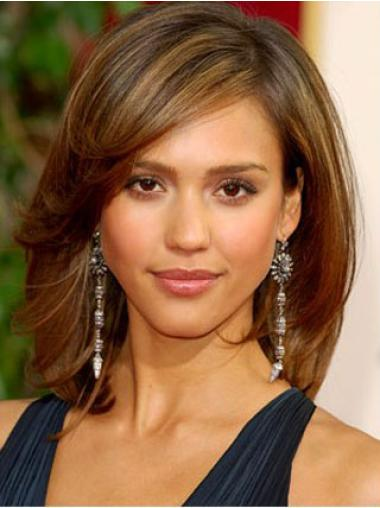 Easeful Brown Straight Shoulder Length Jessica Alba Wigs