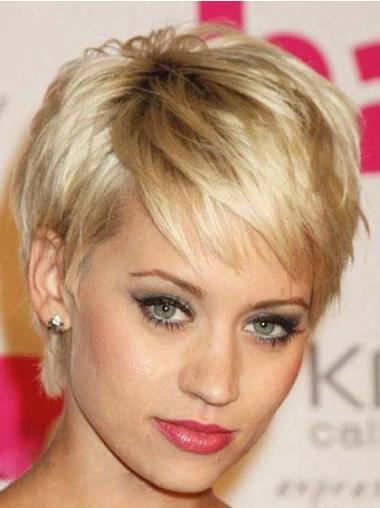 Faddish Blonde Straight Cropped Celebrity Wigs