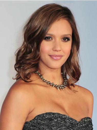 Shining Brown Wavy Shoulder Length Jessica Alba Wigs