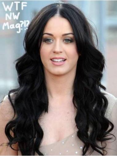 Exquisite Black Wavy Long Glueless Lace Front Wigs