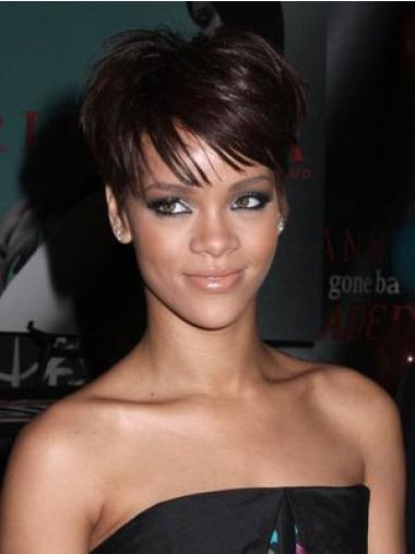 Comfortable Auburn Straight Cropped Rihanna Wigs