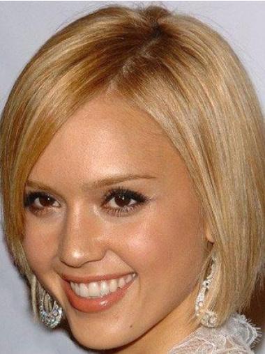 Impressive Blonde Straight Chin Length Jessica Alba Wigs