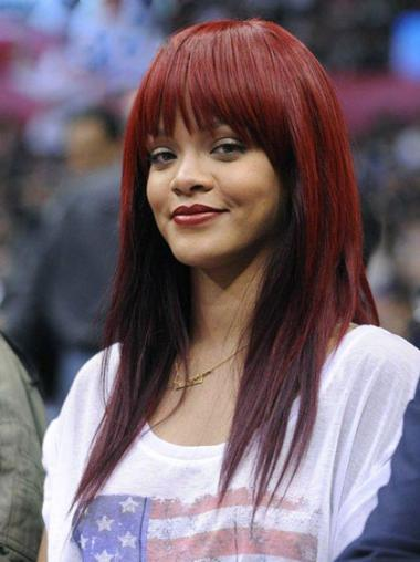 Radiant Red Straight Long Rihanna Wigs