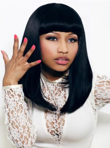 Natural Black Straight Shoulder Length Nicki Minaj Wigs