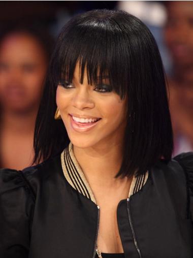 Traditiona Black Straight Shoulder Length Rihanna Wigs