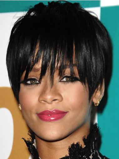 Stylish Black Straight Cropped Rihanna Wigs
