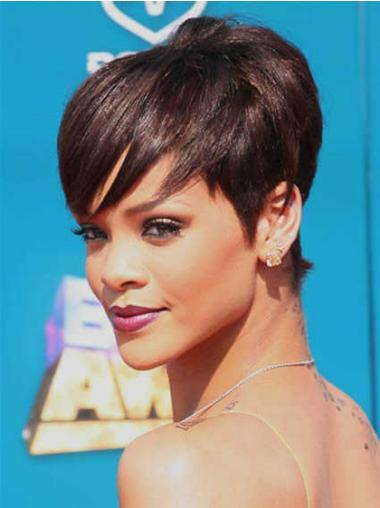 Polite Auburn Straight Cropped Rihanna Wigs