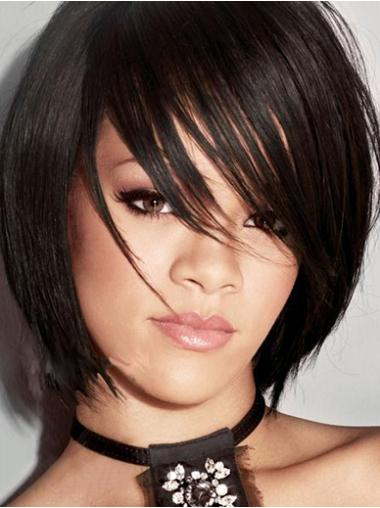 Beautiful Black Straight Chin Length Rihanna Wigs