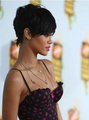 Popular Black Straight Cropped Rihanna Wigs