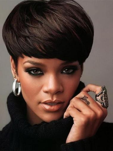 Fashionable Black Straight Cropped Rihanna Wigs