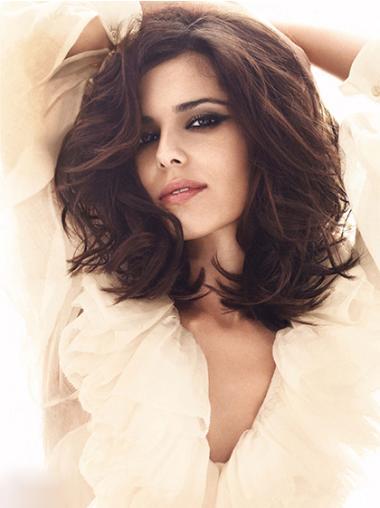 Fashionable Auburn Wavy Shoulder Length Cheryl Cole Wigs