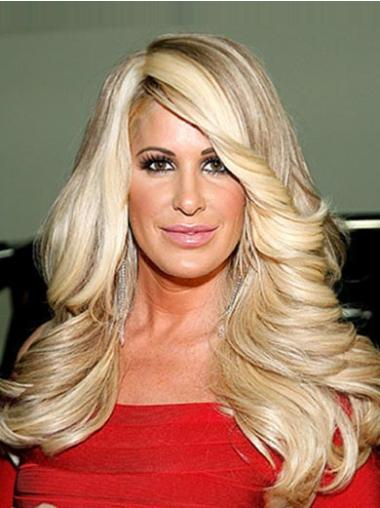 Mature Blonde Curly Chin Length Kim Zolciak Wigs